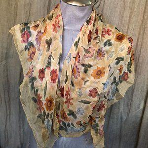 Gorgeous vintage sheer khaki SILK flower print sca
